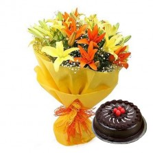 Sunshine Lilies Bouquet With Chocolate Truffle Cake (Half Kg)