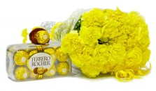 Yellow Carnations N Chocolates