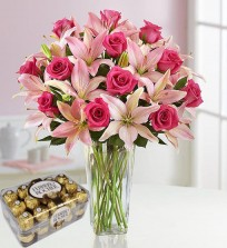 Pink Lilies , Roses N Chocolates