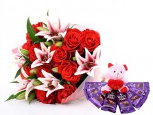 Pink Lilies, Red Roses With Chocolates N Teddy