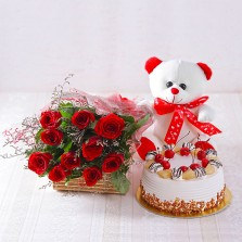 Pineapple Cake, Teddy N Red Roses