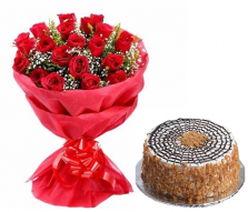 Red Roses with Butterscotch Cake (Half Kg)