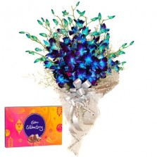 Dazzling Blue Orchid Bouquet N Chocolates