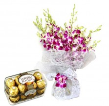 Silver N Purple Orchid Bouquet With Chocolates