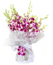 Silver N Purple Orchid Bouquet