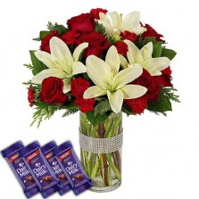 Red N White Beauties With Chocolates
