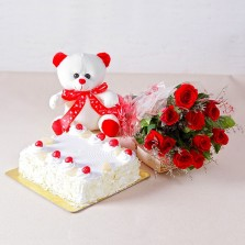 White Forest Cake, Teddy N Red Roses