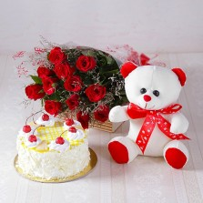 Red Roses With Teddy N Pineapple Cake