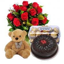 Red Roses with Truffle Chocolate Cake, Teddy N Chocolate