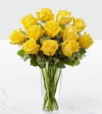 A Dozen Yellow Roses in a Vase