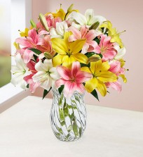 Beautiful Mix Lilies in A  Vase