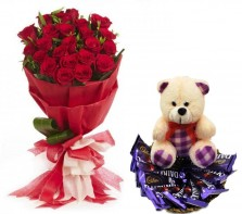 Beautiful Red Roses with Teddy and Chocolate