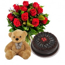 Fresh Red Roses with Truffle Chocolate Cake and Teddy