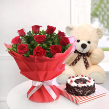 Red Roses With Teddy N Black Forest Cake