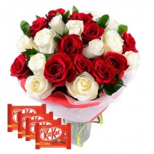 Red N White Roses In A Vase With Chocolates