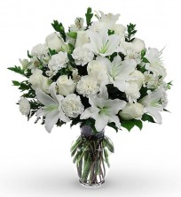 All White Lily, Rose N Carnations