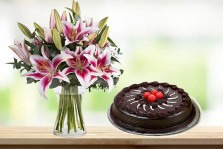 Pink Lilies with Choco Truffle Cake