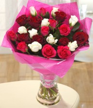 Red, Pink N White Roses In A Vase