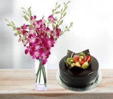 Orchids with Choco Fruit Cake