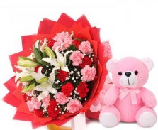 Lilies N Carnation With Teddy