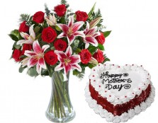 Roses N Lilies With Red Velvet