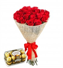 Graceful Red Roses With Chocolates