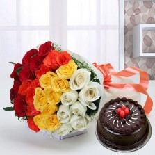 Gorgeous Mix Color Rose Bouquet With Cake
