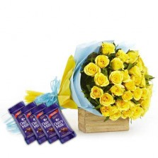 Lovely Yellow Roses With Chocolates