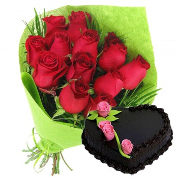 Lovey Dovey Red Roses With Chocolate Heart Cake