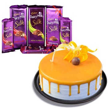Butterscotch Cake With Chocolates