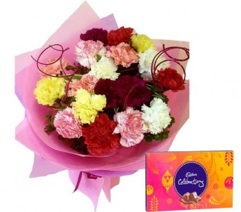 \'Mix Color Carnations N Chocolates