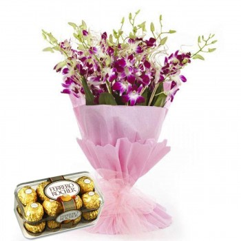 Pink N Purple Orchids Bouquet With Chocolates