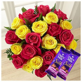 Yellow N Pink Roses With Chocolates