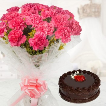 Chocolate Truffle cake (Half Kg) With Pink Carnations
