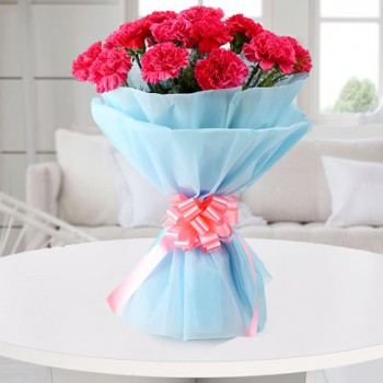 Pink N Blue Carnations Bouquet