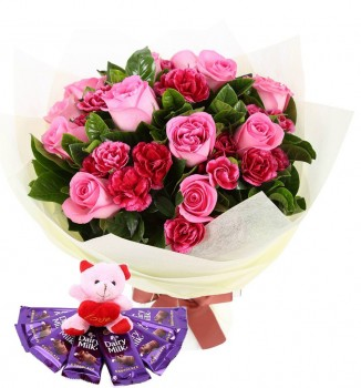 Pink Roses N Carnations With Teddy N Chocolates